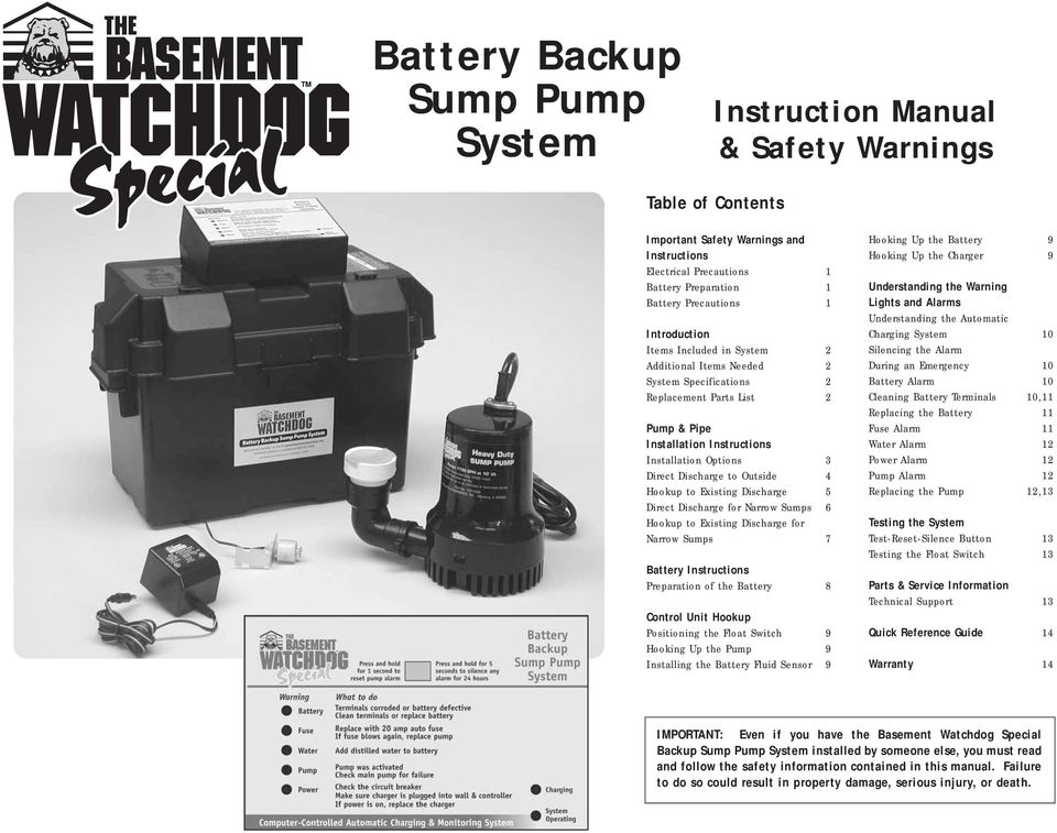 Outside 4 Hookup to Existing Discharge 5 Direct Discharge for Narrow Sumps 6 Hookup to Existing Discharge for Narrow Sumps 7 Battery Instructions Preparation of the Battery 8 Control Unit Hookup