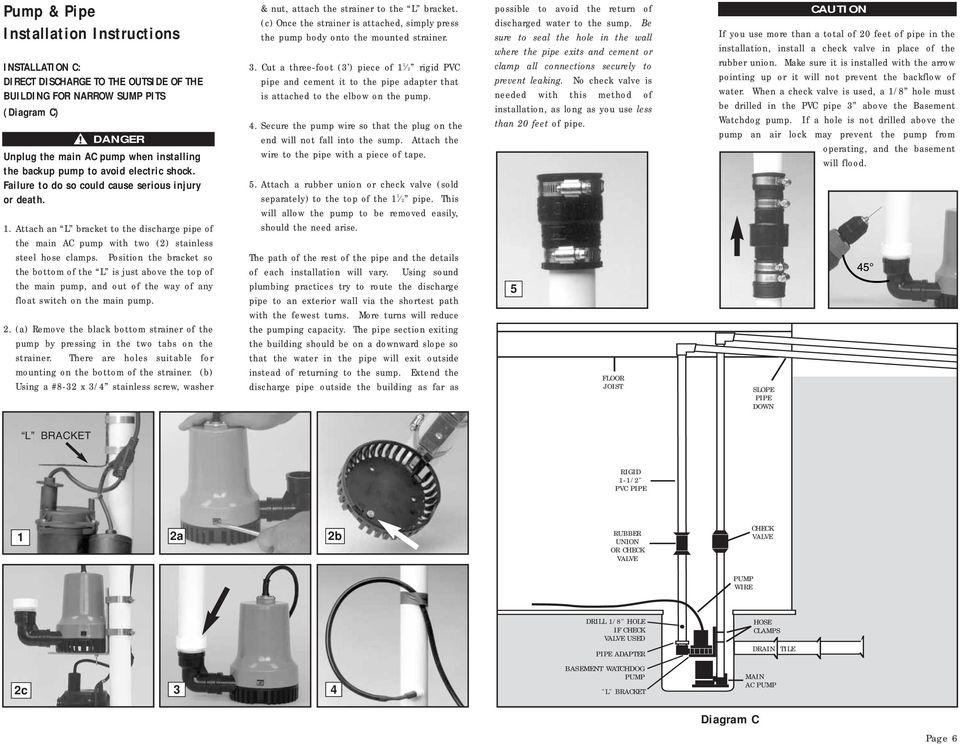 Attach an L bracket to the discharge pipe of the main AC pump with two (2) stainless steel hose clamps.