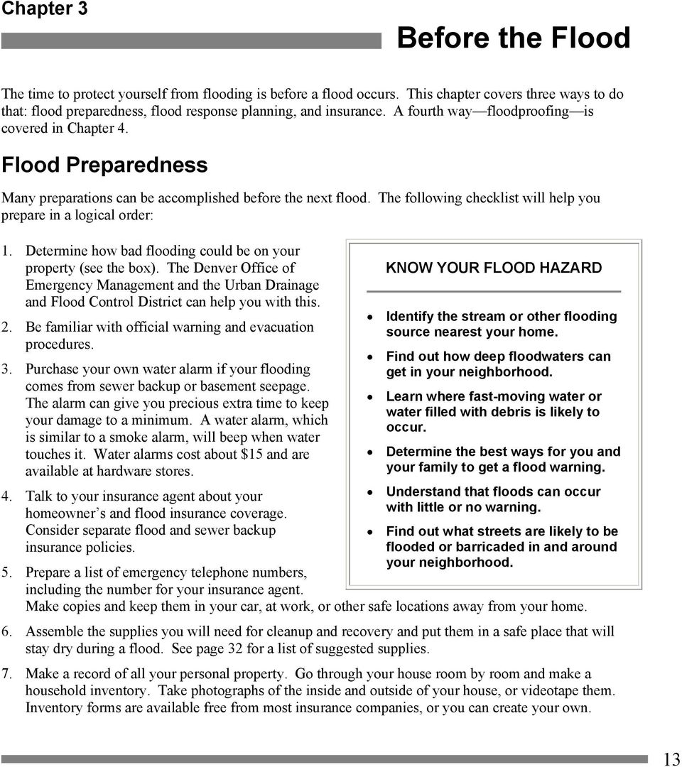 Determine how bad flooding could be on your property (see the box). The Denver Office of Emergency Management and the Urban Drainage and Flood Control District can help you with this. 2.
