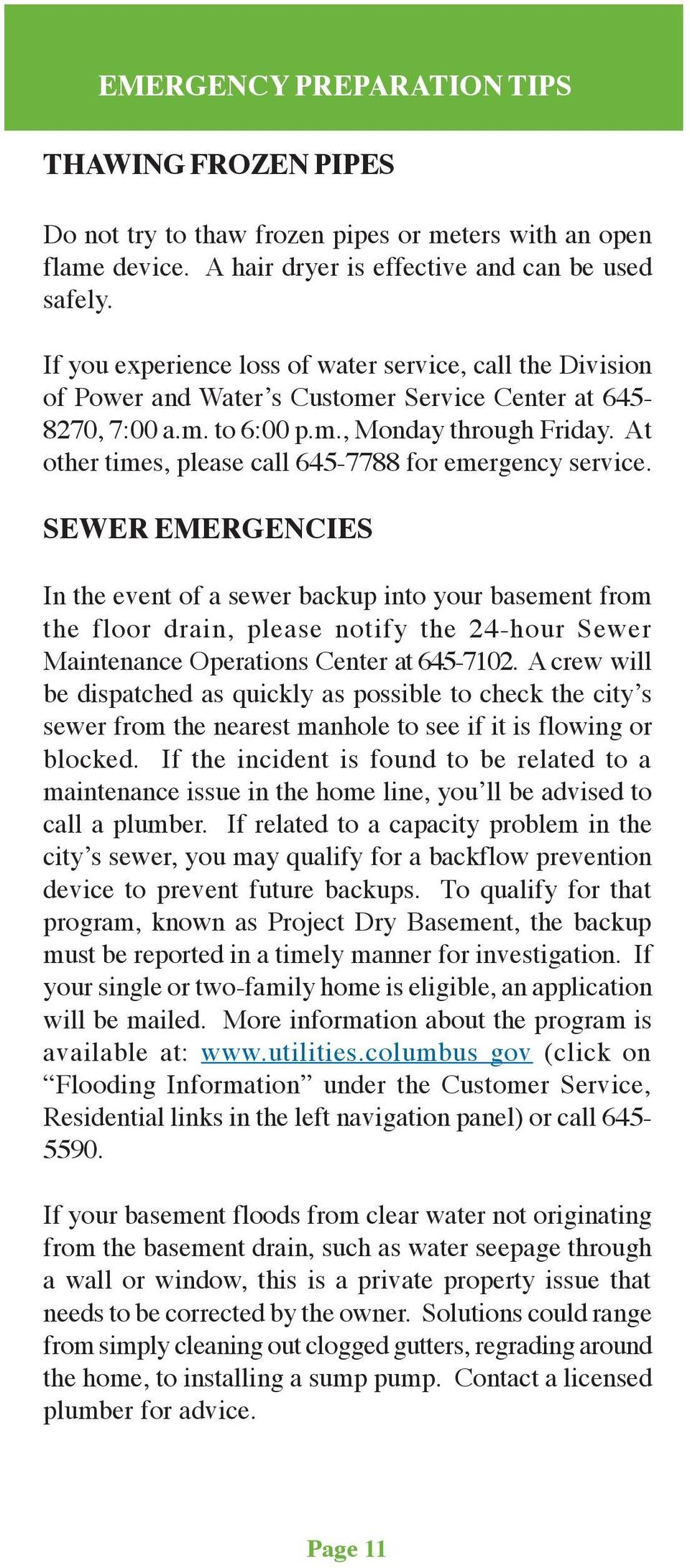 At other times, please call 645-7788 for emergency service.