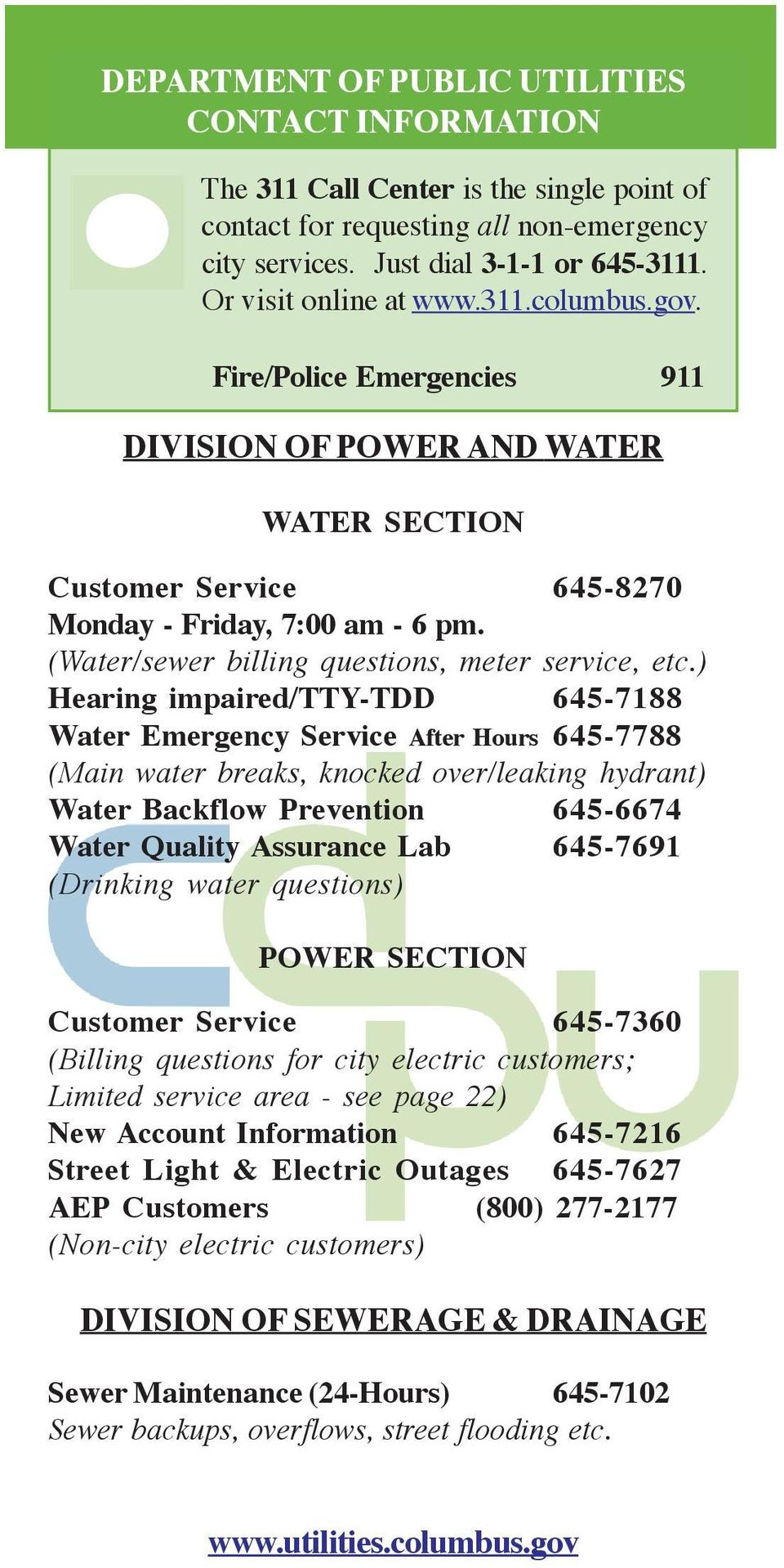 (Water/sewer billing questions, meter service, etc.