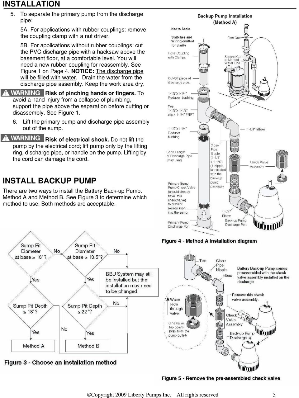 See Figure 1 on Page 4. NOTICE: The discharge pipe will be filled with water. Drain the water from the discharge pipe assembly. Keep the work area dry. Risk of pinching hands or fingers.