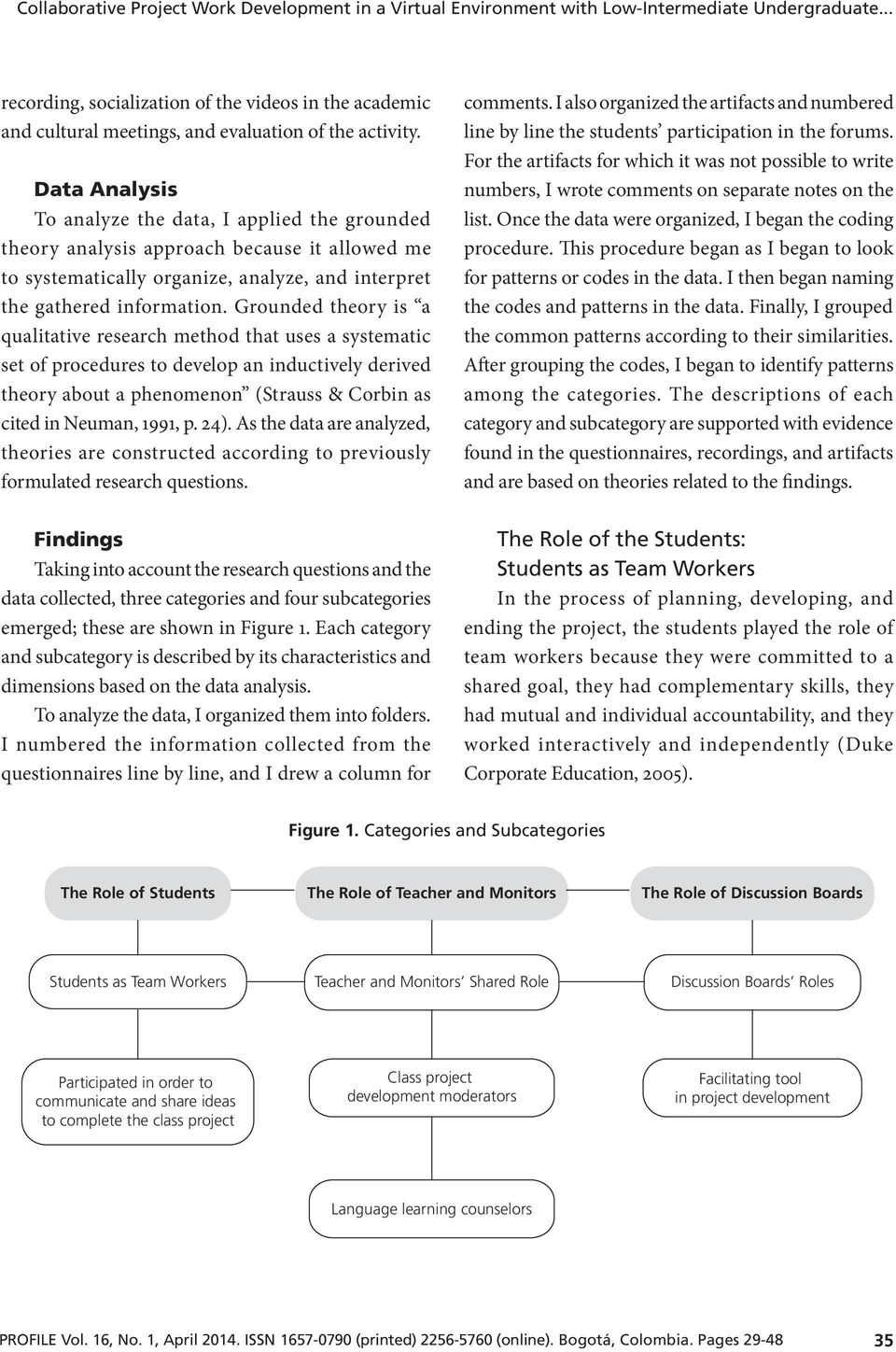 Data Analysis To analyze the data, I applied the grounded theory analysis approach because it allowed me to systematically organize, analyze, and interpret the gathered information.