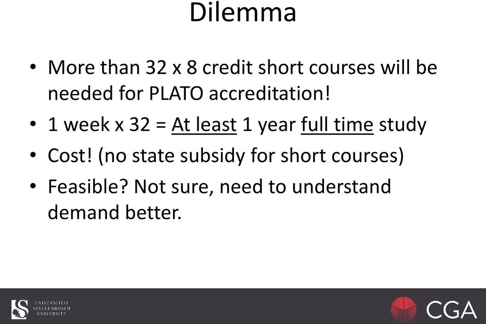 1 week x 32 = At least 1 year full time study Cost!