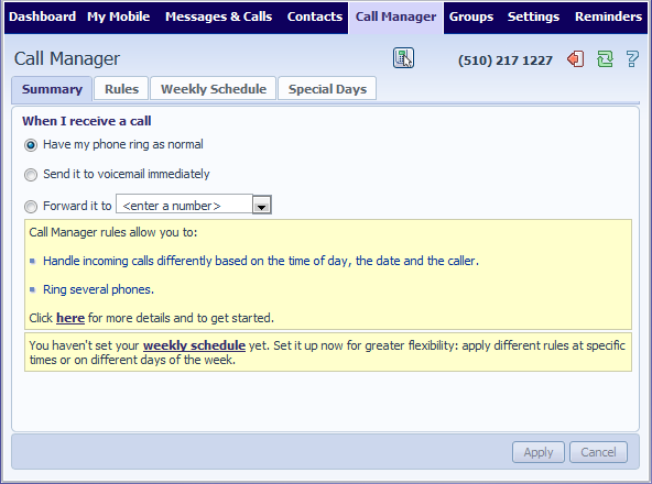 11.2 Premium Call Manager The Premium Call Manager summary page provides you with a single view of how your calls are currently routing and is the ITS CommPortal interface for changing your settings.