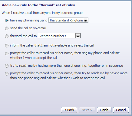 Select the individual or group of callers that this rule will apply to; click the Next button.