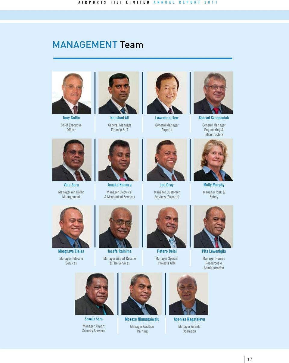(Airports) Manager Risk & Safety Moagrava Elaisa Josefa Rainima Petero Delai Pita Leweniqila Manager Telecom Services Manager Airport Rescue & Fire Services Manager Special