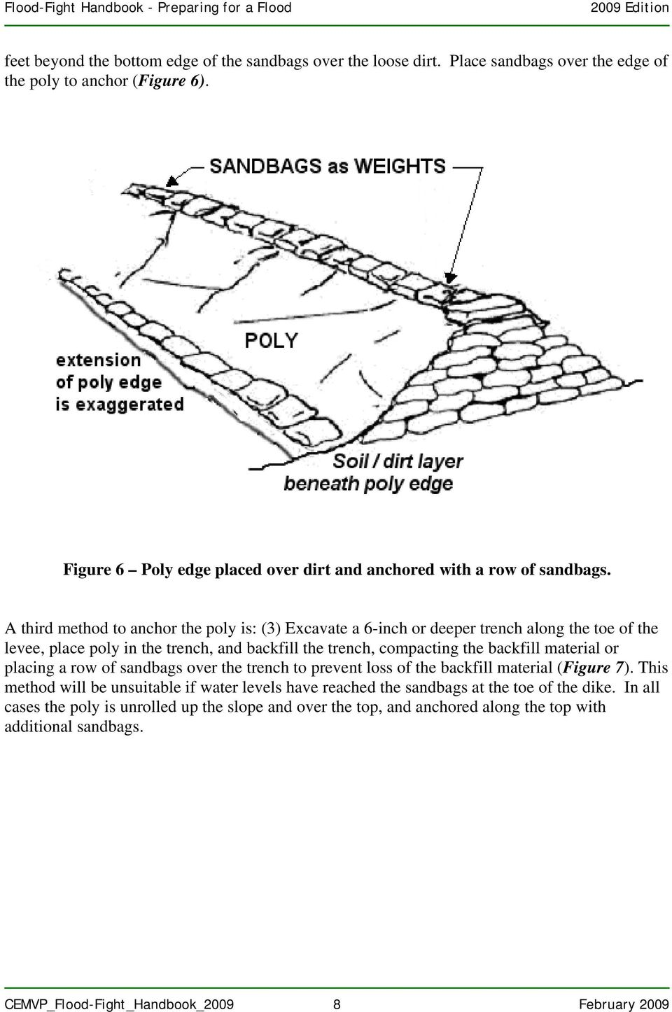 A third method to anchor the poly is: (3) Excavate a 6-inch or deeper trench along the toe of the levee, place poly in the trench, and backfill the trench, compacting the backfill