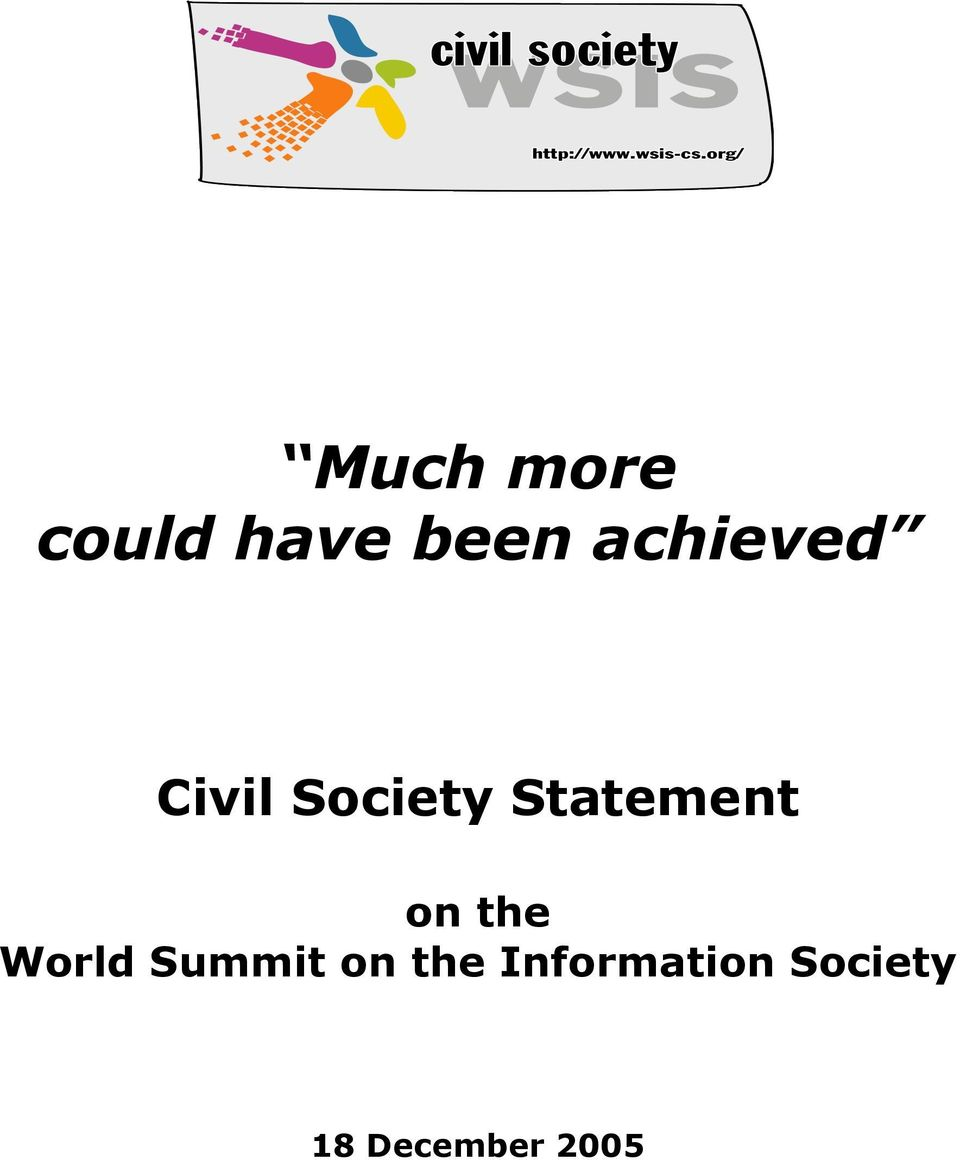 Statement on the World Summit