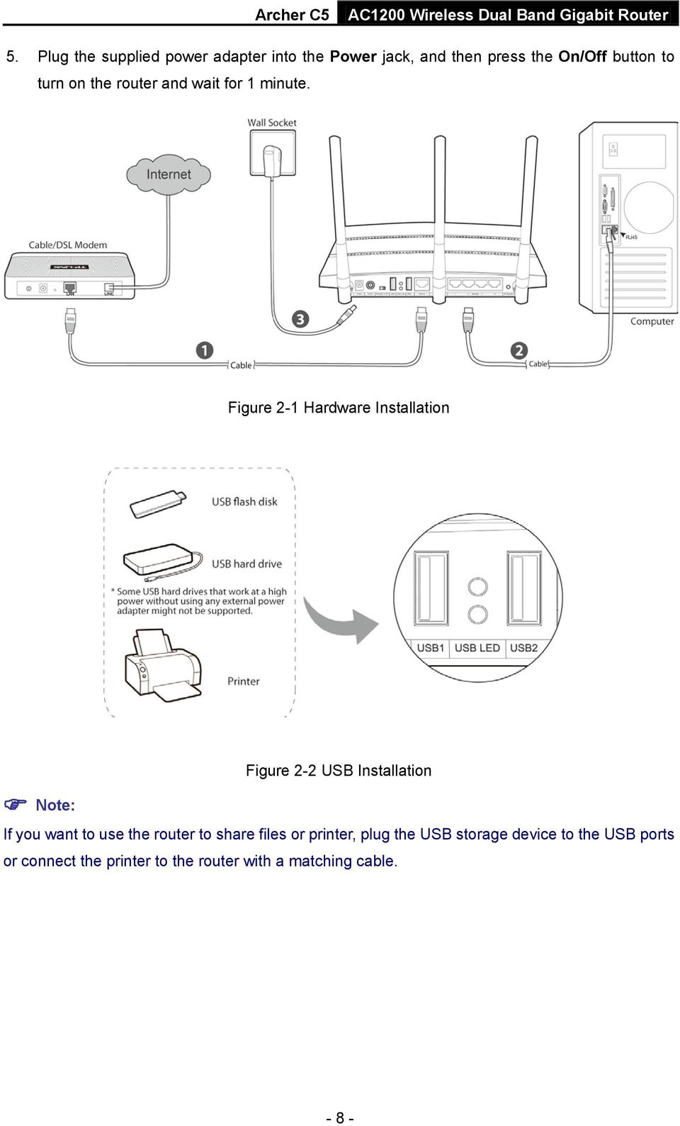 Figure 2-1 Hardware Installation Figure 2-2 USB Installation Note: If you want to use the