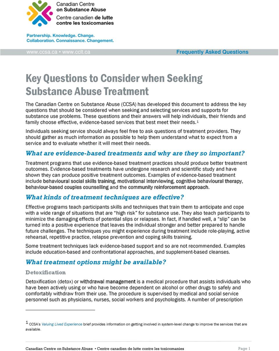 that should be considered when seeking and selecting services and supports for substance use problems.