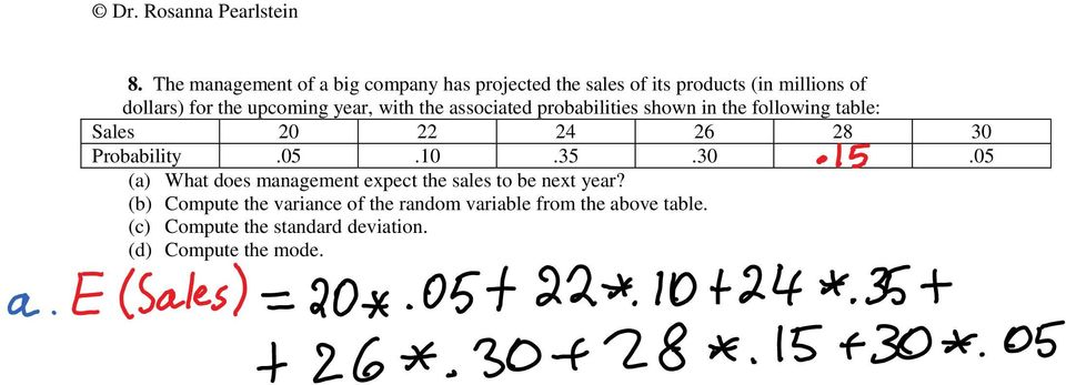 30 Probability.05.10.35.30.05 (a) What does management expect the sales to be next year?