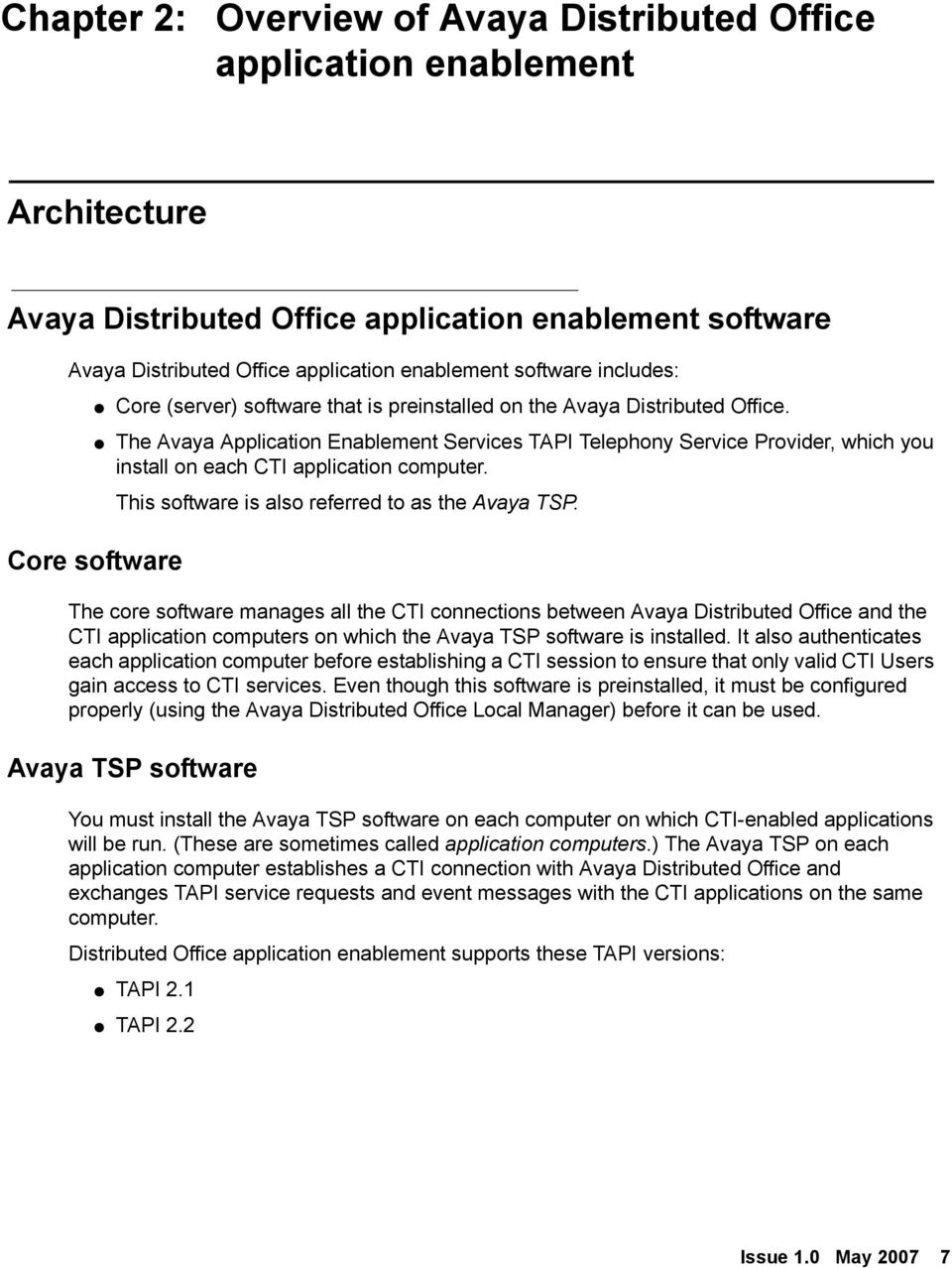 The Avaya Application Enablement Services TAPI Telephony Service Provider, which you install on each CTI application computer. This software is also referred to as the Avaya TSP.