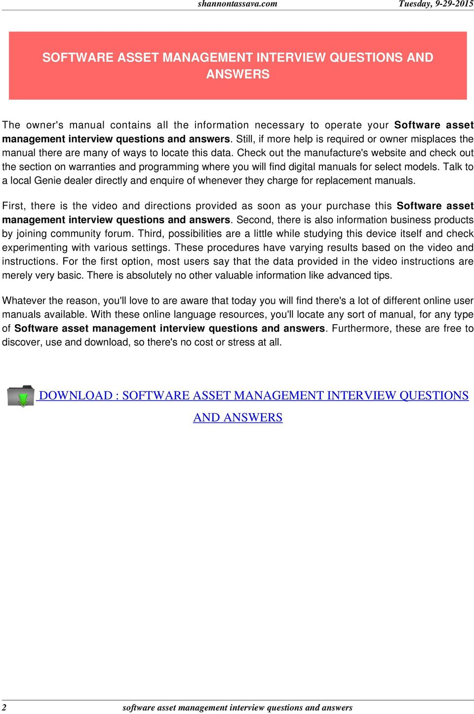 software asset management interview questions and answers pdf check out the manufacture s website and check out the section on warranties and programming where you