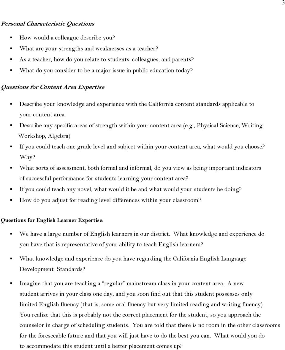 sample teacher interview questions pdf questions for content area expertise describe your knowledge and experience the california content standards applicable