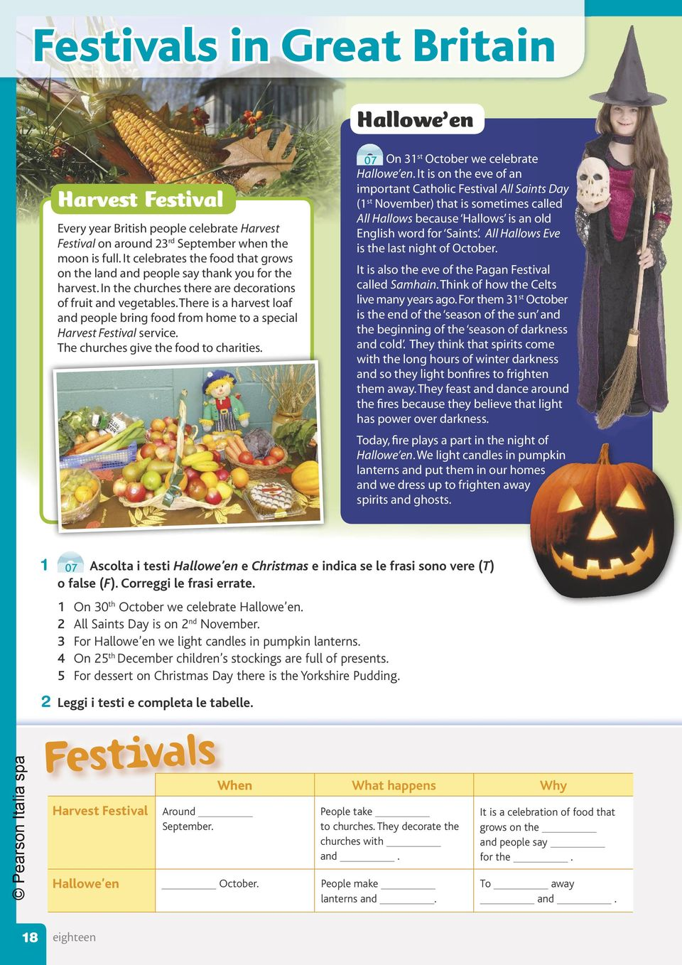 There is a harvest loaf and people bring food from home to a special Harvest Festival service. The churches give the food to charities. 07 On 31 st October we celebrate e Hallowe en.
