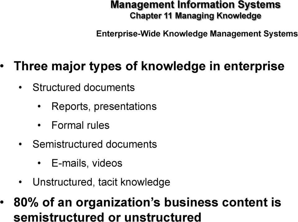 Semistructured documents E-mails, videos Unstructured, tacit knowledge 80% of an