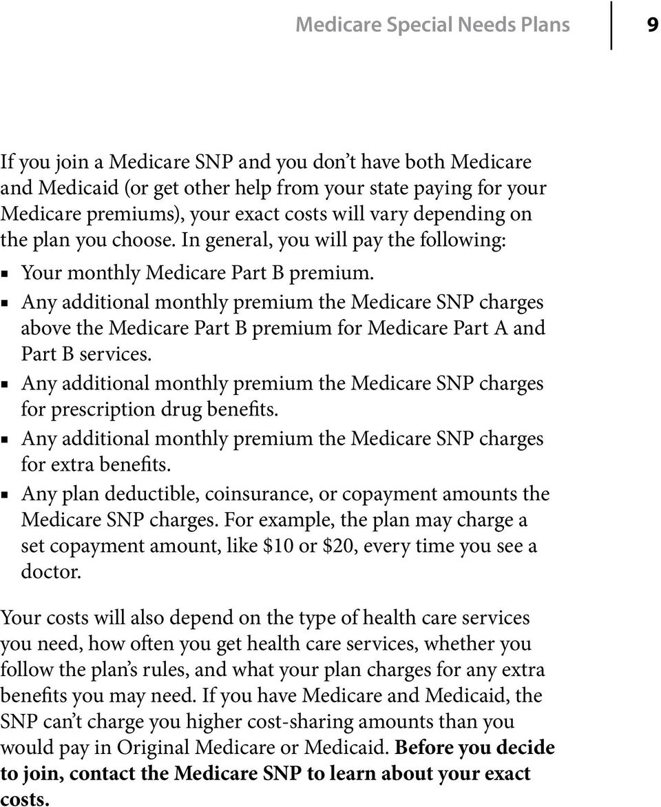 Any additional monthly premium the Medicare SNP charges above the Medicare Part B premium for Medicare Part A and Part B services.
