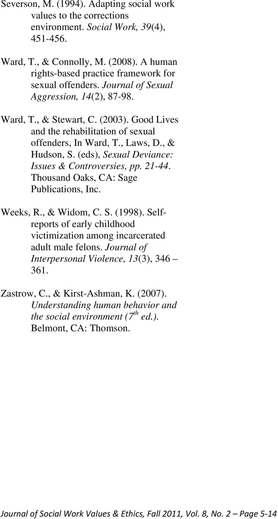 Good Lives and the rehabilitation of sexual offenders, In Ward, T., Laws, D., & Hudson, S. (eds), Sexual Deviance: Issues & Controversies, pp. 21-44. Thousand Oaks, CA: Sage Publications, Inc.