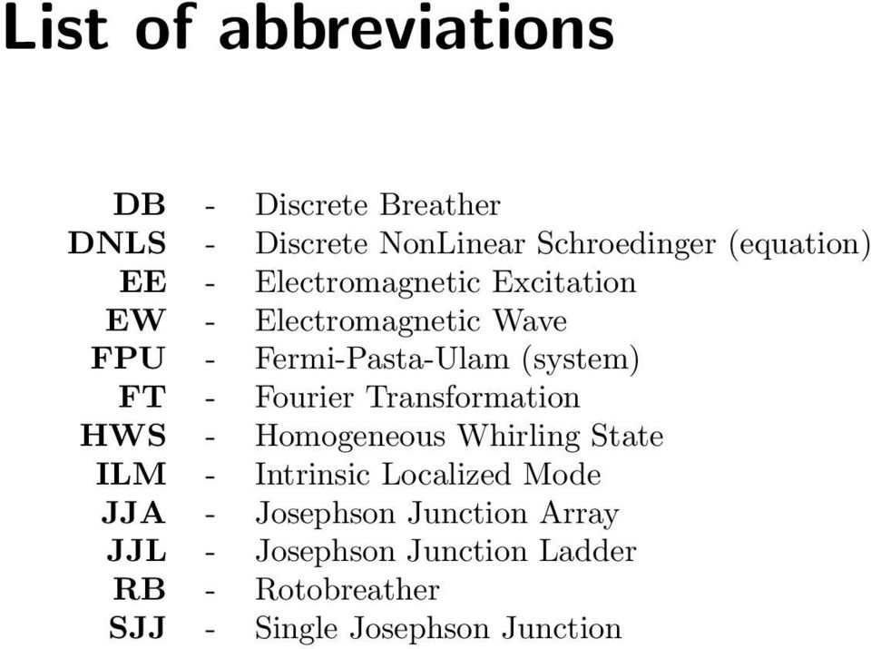 Fourier Transformation HWS - Homogeneous Whirling State ILM - Intrinsic Localized Mode JJA -