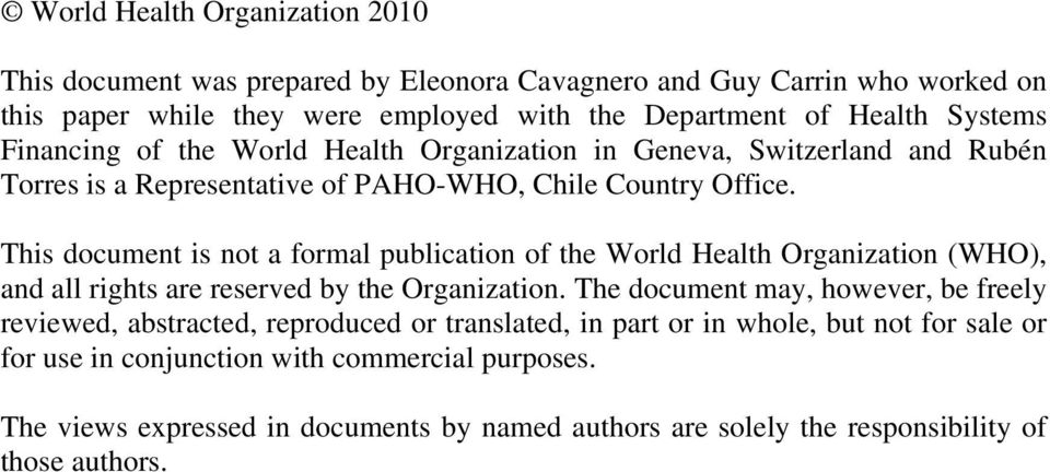 This document is not a formal publication of the World Health Organization (WHO), and all rights are reserved by the Organization.