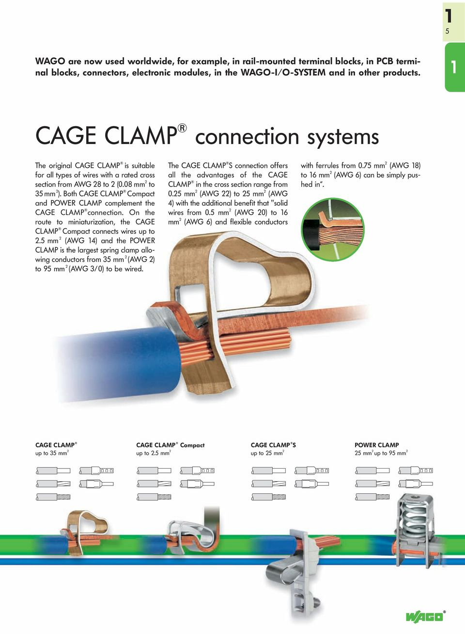 Both CAGE CLAMP Compact and POWER CLAMP complement the CAGE CLAMP connection. On the route to miniaturization, the CAGE CLAMP Compact connects wires up to 2.