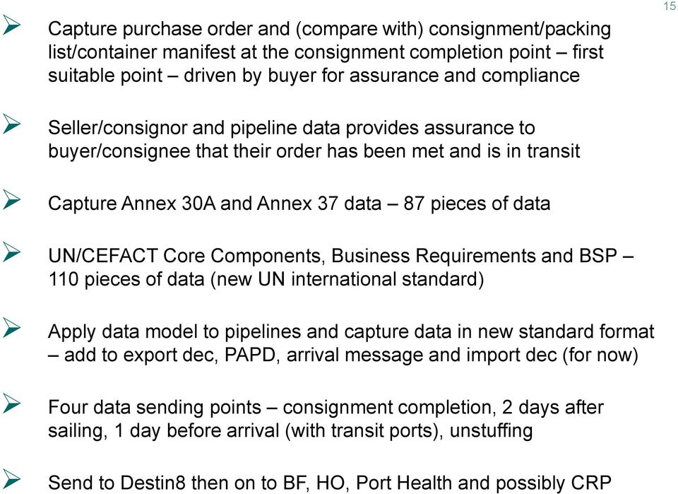 Components, Business Requirements and BSP 110 pieces of data (new UN international standard) Apply data model to pipelines and capture data in new standard format add to export dec, PAPD, arrival