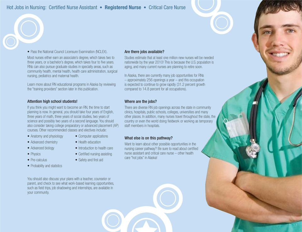 Learn more about RN educational programs in Alaska by reviewing the training providers section later in this publication. Are there jobs available?