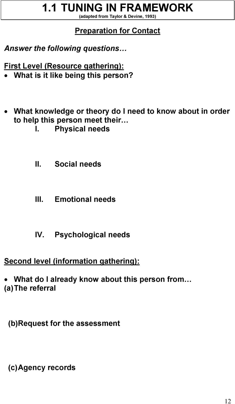 What knowledge or theory do I need to know about in order to help this person meet their I. Physical needs II.