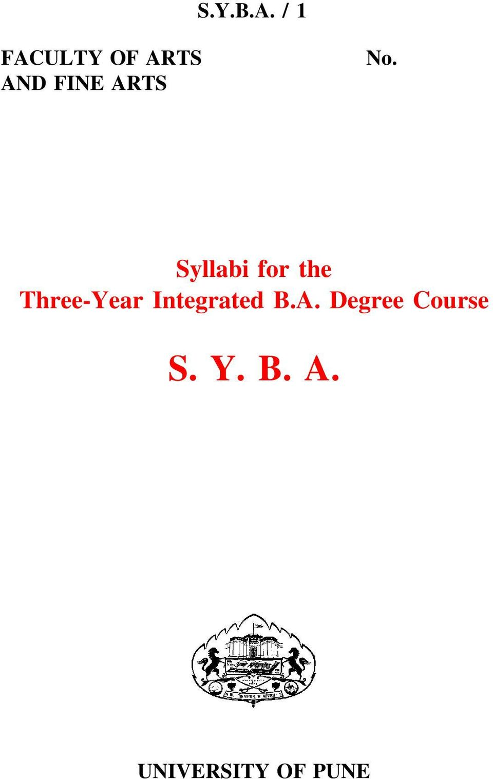 No. Syllabi for the Three-Year