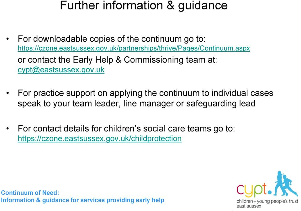 uk For practice support on applying the continuum to individual cases speak to your team leader, line manager or