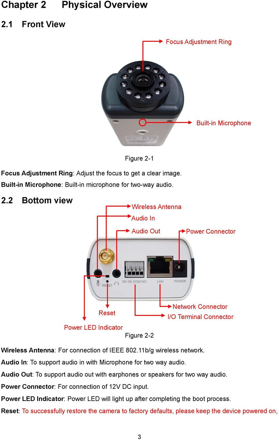 2 Bottom view Wireless Antenna Audio In Audio Out Power Connector Reset Power LED Indicator Figure 2-2 Network Connector I/O Terminal Connector Wireless Antenna: For connection of IEEE 802.