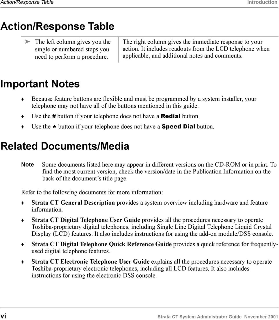 Important Notes Because feature buttons are flexible and must be programmed by a system installer, your telephone may not have all of the buttons mentioned in this guide.