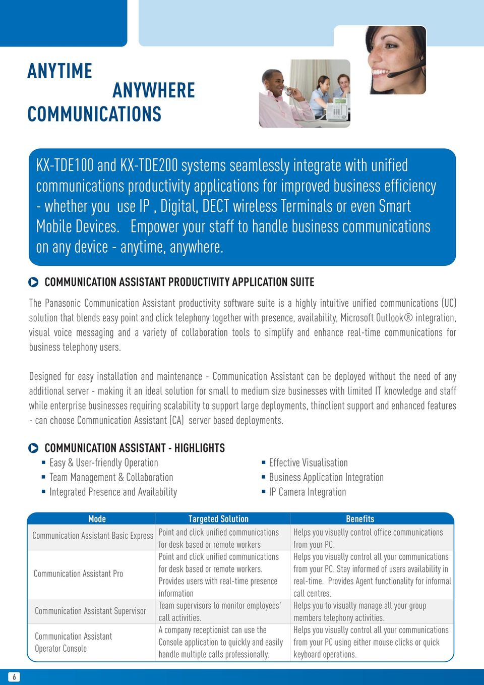 COMMUNICATION ASSISTANT PRODUCTIVITY APPLICATION SUITE The Panasonic Communication Assistant productivity software suite is a highly intuitive unified communications (UC) solution that blends easy