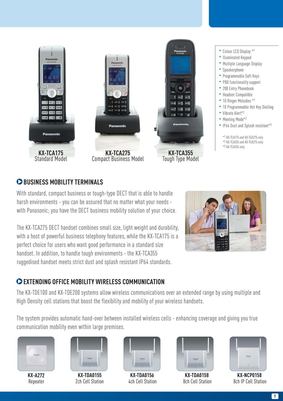 KX-TCA275 only * 2 KX-TCA355 and KX-TCA275 only * 3 KX-TCA355 only BUSINESS MOBILITY TERMINALS With standard, compact business or tough-type DECT that is able to handle harsh environments - you can