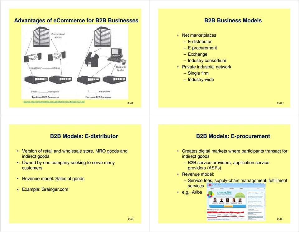 pdf 2-41 2-42 B2B Models: E-distributor B2B Models: E-procurement Version of retail and wholesale store, MRO goods and indirect goods Owned by one company seeking to serve many