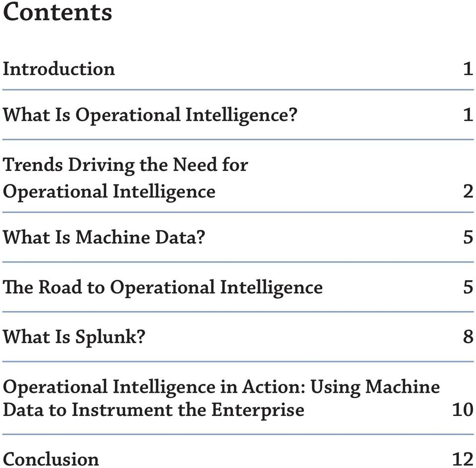 Data? 5 The Road to Operational Intelligence 5 What Is Splunk?