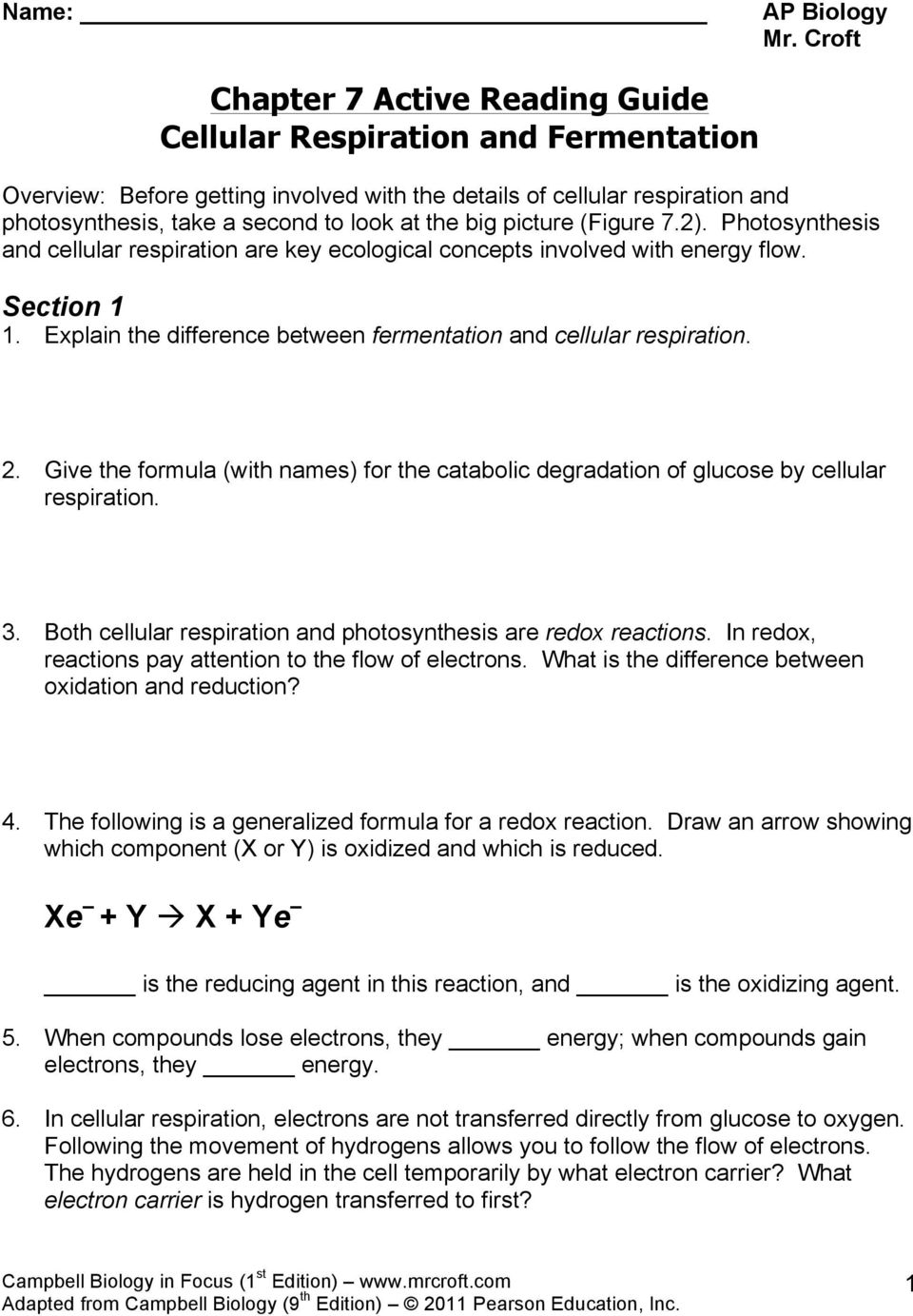 Chapter 7 Active Reading Guide Cellular Respiration and – Photosynthesis and Cellular Respiration Worksheet Answers