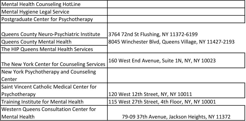 The New York Center for Counseling Services New York Psychotherapy and Counseling Center Saint Vincent Catholic Medical Center for Psychotherapy 120 West 12th Street, NY, NY