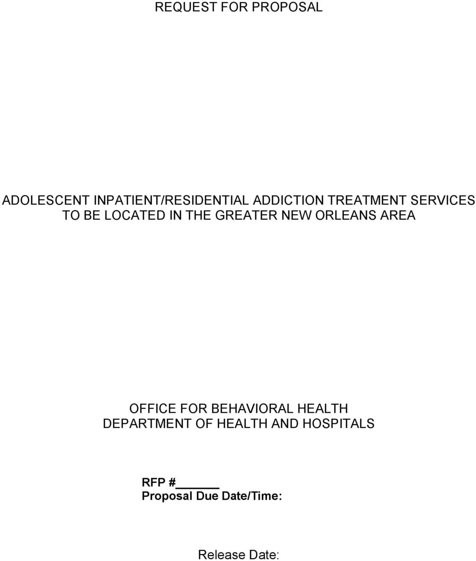 NEW ORLEANS AREA OFFICE FOR BEHAVIORAL HEALTH DEPARTMENT