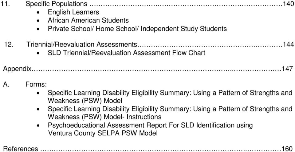 Forms: Specific Learning Disability Eligibility Summary: Using a Pattern of Strengths and Weakness (PSW) Model Specific Learning Disability