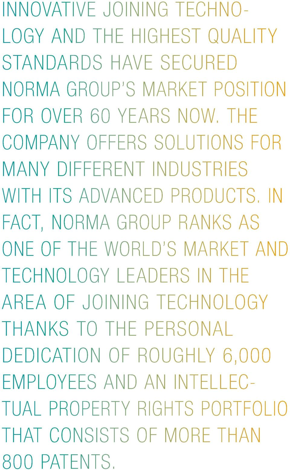 IN FACT, NORMA GROUP RANKS AS ONE OF THE WORLD S MARKET AND TECHNOLOGY LEADERS IN THE AREA OF JOINING TECHNOLOGY THANKS
