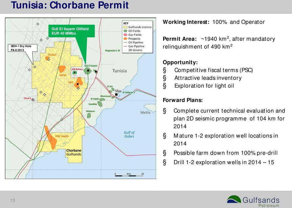 locations in 2014 Possible farm down from 70% Drill 1-2 exploration wells in 2014 15 Working Interest: 100% and Operator Permit Area: ~1940 km 2, after mandatory relinquishment of 490 km 2