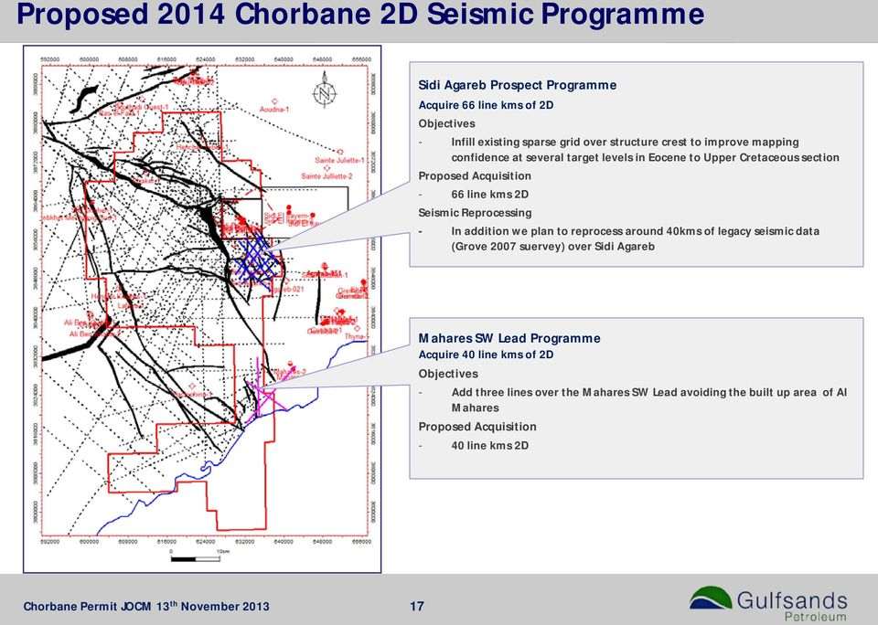 addition we plan to reprocess around 40kms of legacy seismic data (Grove 2007 suervey) over Sidi Agareb Mahares SW Lead Programme Acquire 40 line kms of 2D
