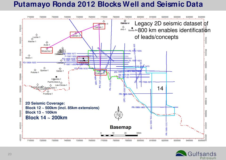 leads/concepts 14 2D Seismic Coverage: Block 12 ~ 500km