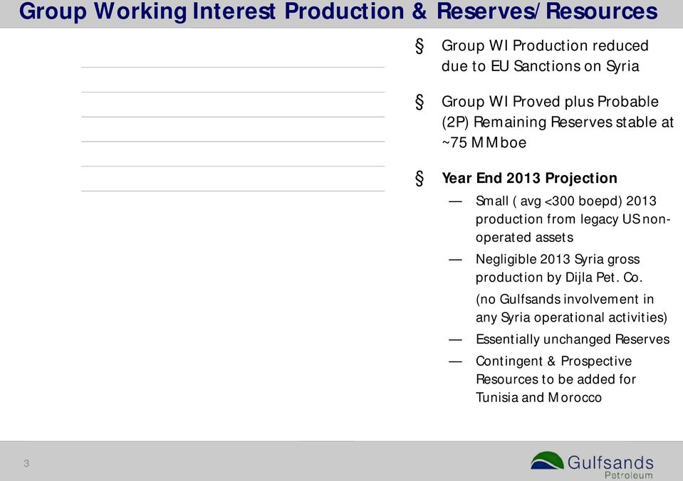 2426 2008 2009 2010 2011 2012 Group 2P Working Interest Remaining Reserves (MMboe) 2008-2012 USA Syria 5.2 35.2 4.7 46.0 3.3 53.6 1.8 1.4 74.5 74.