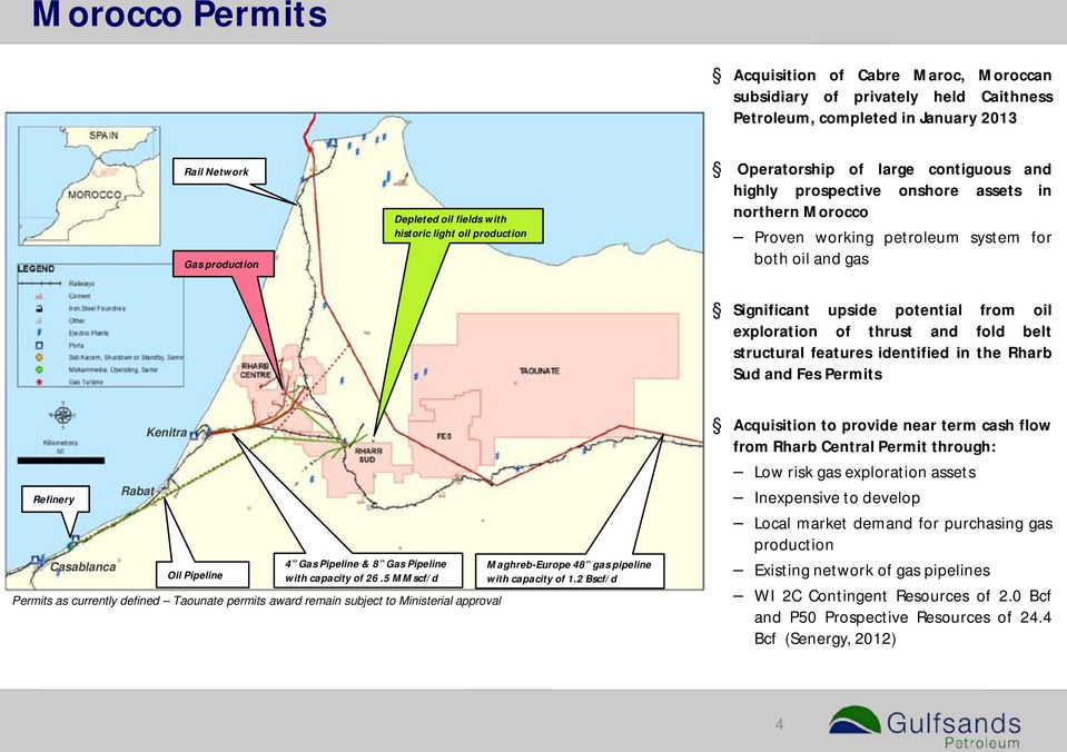 exploration of thrust and fold belt structural features identified in the Rharb Sud and Fes Permits Refinery Casablanca Rabat Kenitra Oil Pipeline 4 Gas Pipeline & 8 Gas Pipeline with capacity of 26.
