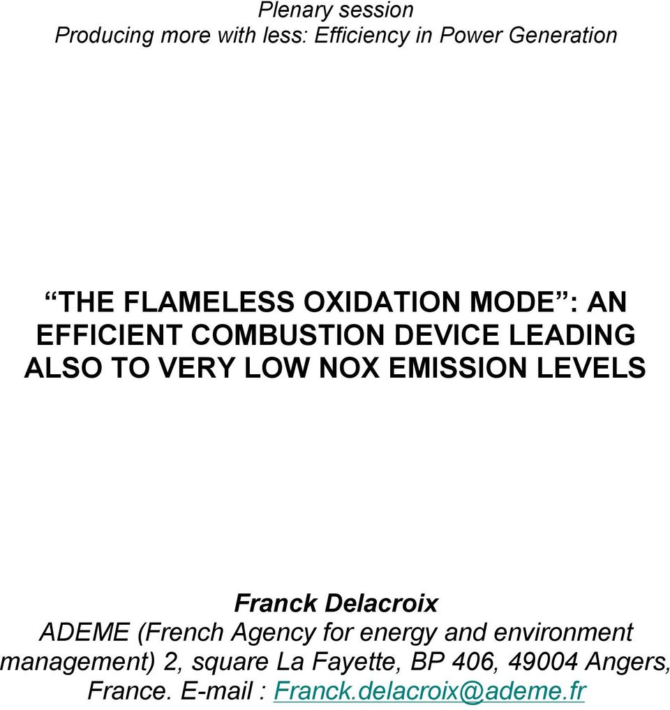 NOX EMISSION LEVELS Franck Delacroix ADEME (French Agency for energy and environment