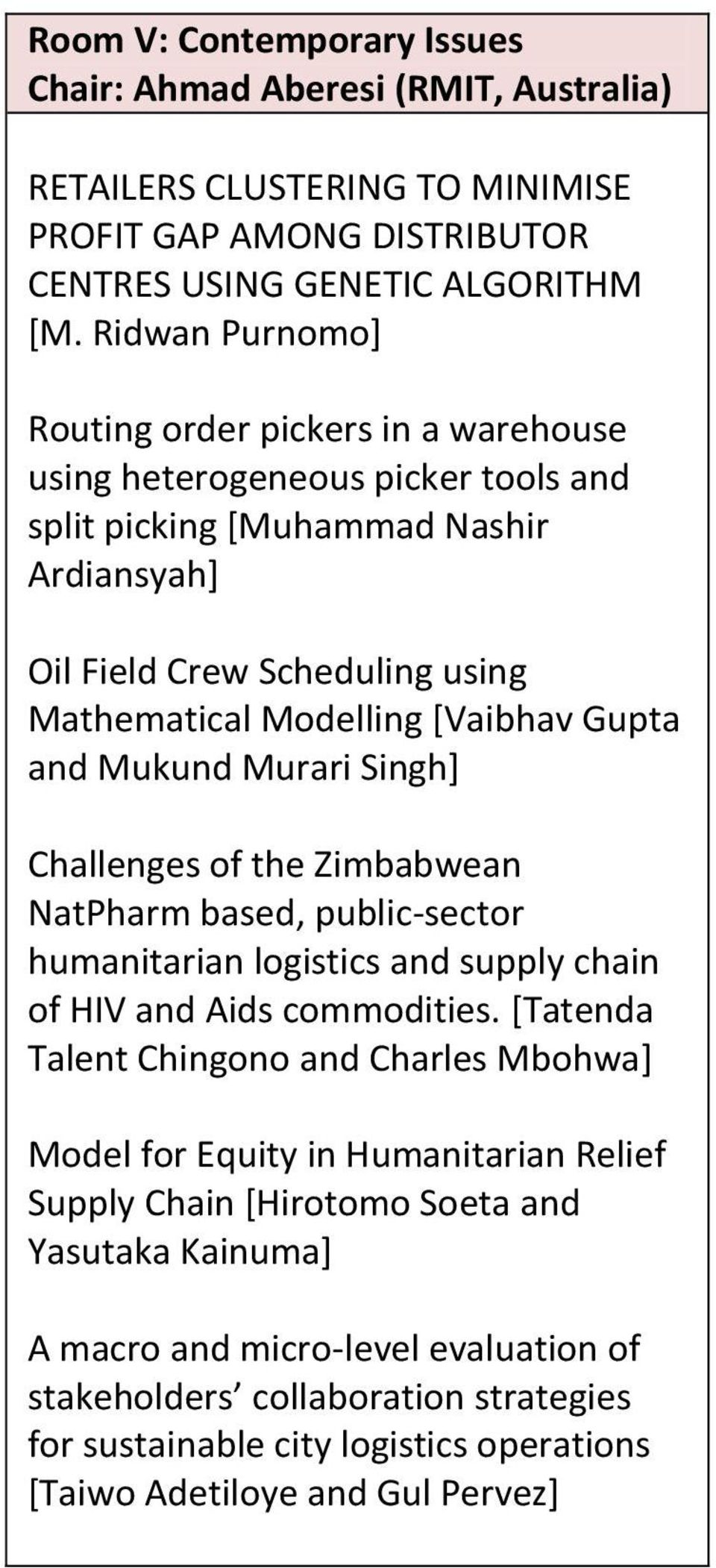 Gupta and Mukund Murari Singh] Challenges of the Zimbabwean NatPharm based, public-sector humanitarian logistics and supply chain of HIV and Aids commodities.