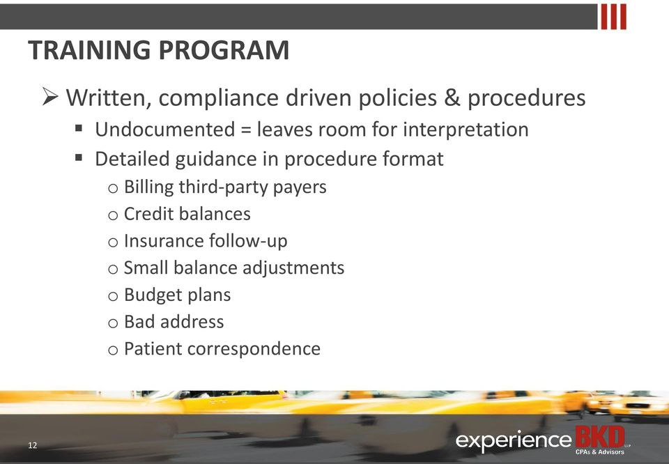 procedure format o Billing third-party payers o Credit balances o Insurance